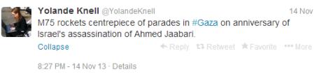 Knell tweet gaza parade