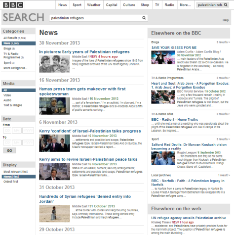 Search BBC website Palestinian refugees