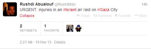 Tweet Abualouf explosion Gaza