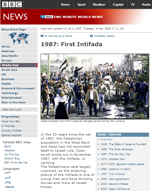 Romanticising rocks and stones: BBC on the first Intifada