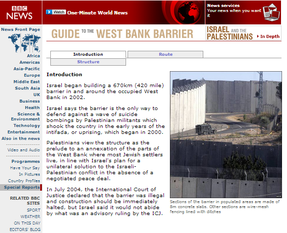 Does BBC reporting on Israel's anti-terrorist fence meet standards of 'due impartiality'? – part 2