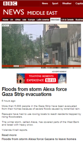 Knell filmed floods Gaza