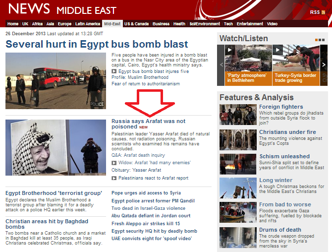 Four times less BBC Online coverage of Arafat 'not poisoned' stories