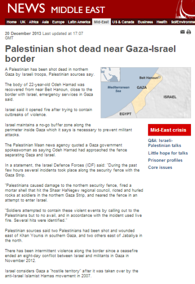 Palestinian shot Gaza 20 12