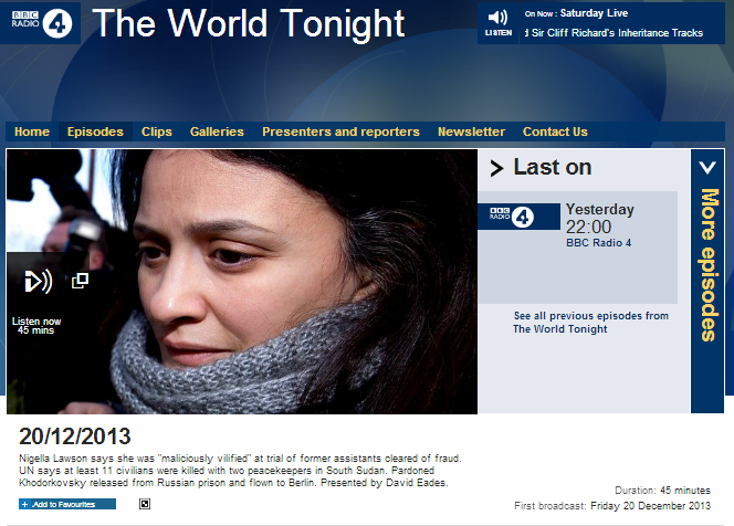 The world tonight 20 12