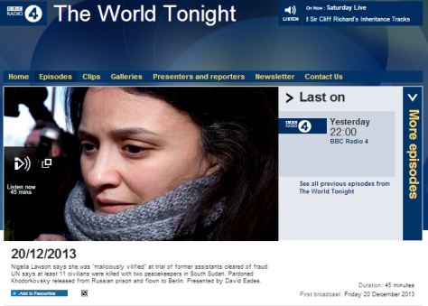 The world tonight 20 12