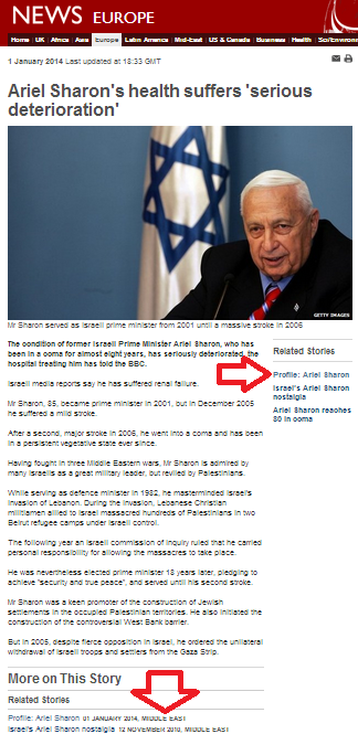 As Sharon's health deteriorates, BBC updates profile claiming he sparked second intifada