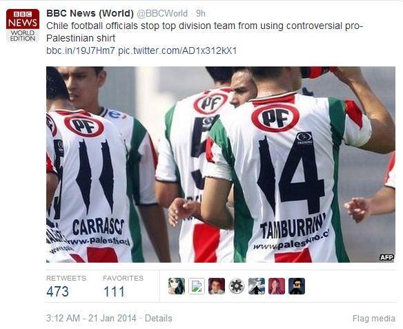 BBC News World tweet football shirt