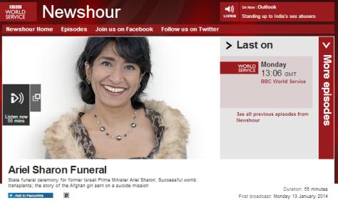 News hour 13 1 Sharon funeral
