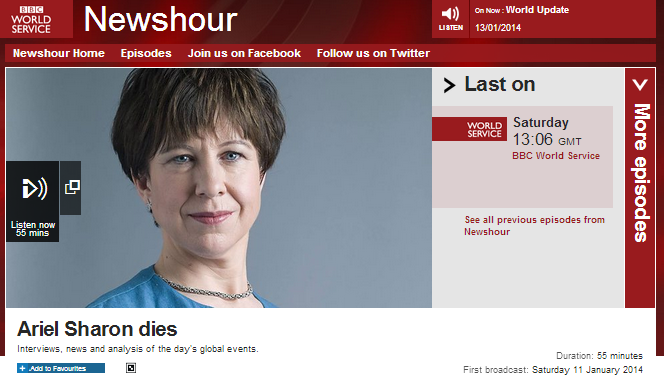Breaches of editorial guidelines in BBC WS 'Newshour' special Sharon broadcast