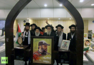 Neturei Karta visiting the tomb of Imad Mughniyeh, Beirut March 2012