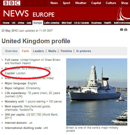 Which country does not have a capital city on the BBC website?