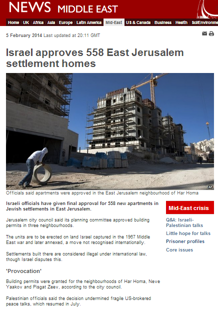 What does the BBC refuse to tell its audiences about 'settlements' in Jerusalem?