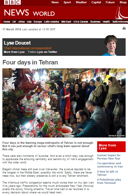 A soft view of Iran through the BBC's Doucet filter