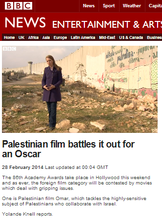 BBC's Knell reports on a Palestinian film, fails to tell audiences all