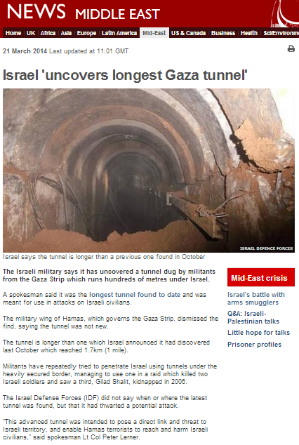 'Impartial' BBC reporting of Hamas propaganda on cross-border tunnel