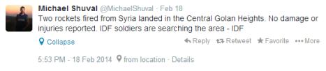 Tweet Shuval Golan 18 Feb