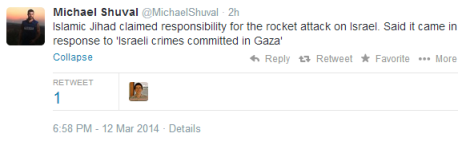 Weds missile attacks Shuval tweet