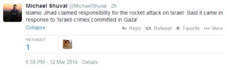 Weds missile attacks Shuval tweet