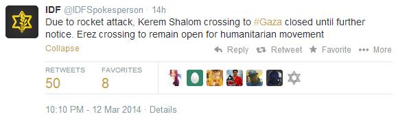 Weds tweet IDF crossings