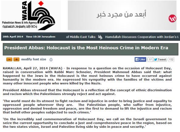 Abbas Holocaust statement Wafa
