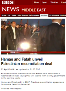 What have BBC TV audiences been told about the Hamas-Fatah deal?