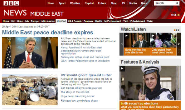 What is the BBC's take away message on end of Israel-PLO negotiations?