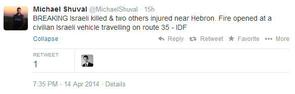 Tweet Shuval route 35 incident