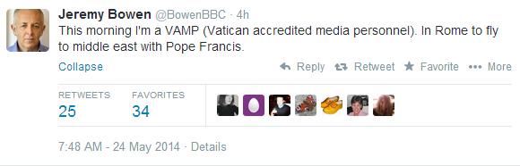 Bowen tweet Pope visit