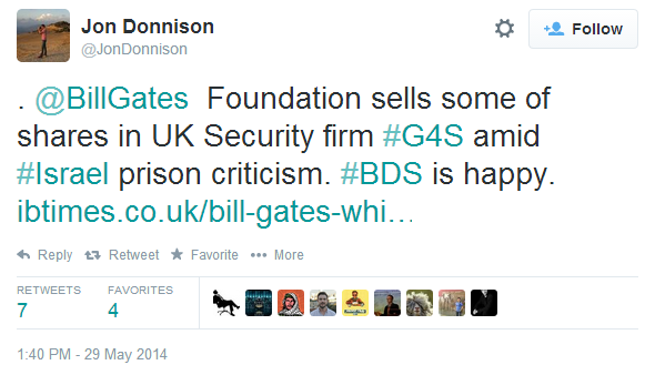 BBC's Jon Donnison promotes BDS misinformation on Twitter