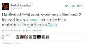 Context-free Tweet from BBC's Gaza correspondent