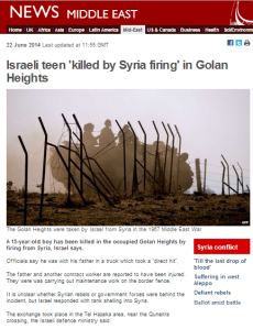 Victim of Golan Heights terror attack unnamed in BBC News report