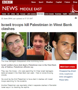 Eighth BBC article on search for kidnapped teens ignores attack on Ramallah police