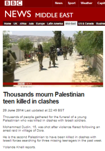 Knell to BBC TV audiences: Israel 'provoked' Palestinians with search for kidnapped teens