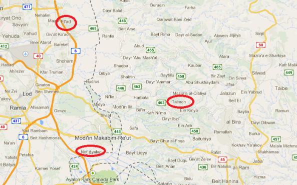 map yishuvim