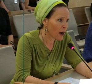 Rachel Frenkel speaking at the UN in Geneva, June 24th
