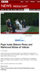 Post Vatican prayer meet missile from Gaza Strip ignored by BBC