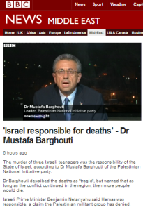 BBC's 'Newsnight' facilitates Barghouti claim of 'international law' as excuse for murders of teens