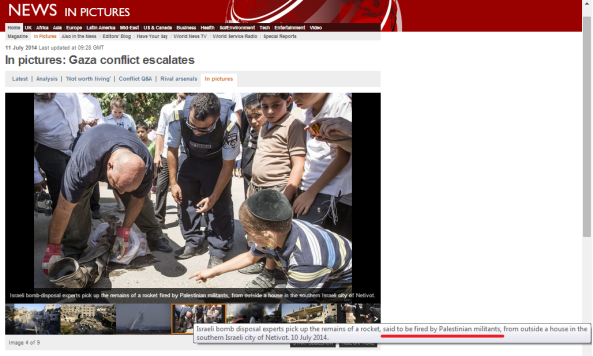 BBC pictures editor apparently not sure where missile that landed in Israel came from