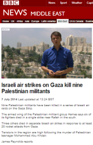 James Reynolds tells BBC viewers about Hamas' 'crudely made rockets'