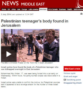 BBC News promotes unverified speculation on motive for killing of Palestinian teen
