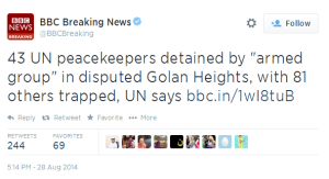 BBC breaking tweet UNDOF