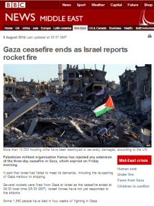 How did the BBC News website report renewed missile attacks on Israel?
