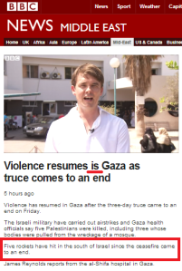 BBC reports over ten times fewer post-truce missile hits on Israel than actually occurred