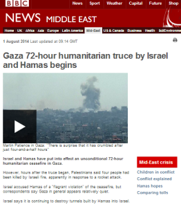 BBC presentation of the August 1st ceasefire breakdown – part one: BBC News website