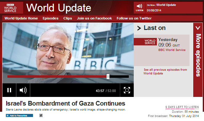 BBC WS presenter: filmed evidence of Hamas' misuse of hospitals is
