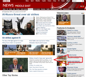 Unqualified amplification of Abbas' 'genocide' agitprop on BBC News website