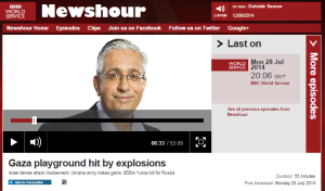 BBC WS 'Newshour': a test case for BBC claims of 'equal coverage'