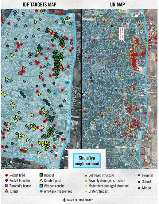Shujaiya comparative map