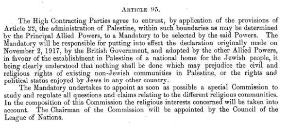 Treaty of Sevres Article 95